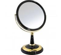 """Зеркало настольное косметическое 195001 (B8""""809 BLK/G) 2-стор. 10-кр.ув. 20 см с крист.(8) цвет черный/золото"""