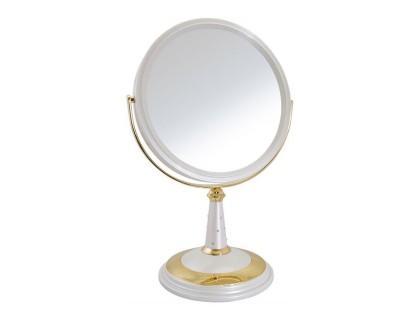 """Зеркало настольное косметическое 195002 (B8""""809 PER/G) 2-стор.10-кр.ув. 20см с крист.(8) цвет белый/золото"""