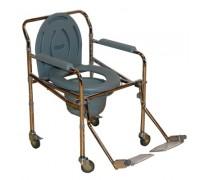 Кресло-туалет складной на колесах со съемными подножками Мега-Оптим LK 8001