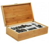 Набор массажных камней из базальта в коробке из бамбука НК-1Б (36 шт)