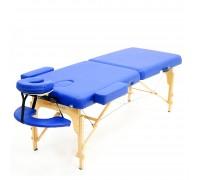 Массажный стол (15207) Comfort (MET Coinfy PROFESSIONAL 02) 2-секц, (кожзам Premium), дерево, синий