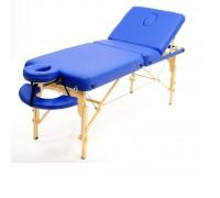 Массажный стол (15210) Comfort (MET Coinfy PROFESSIONAL 03) 3-секц, DELUXE PU (кожзам Premium), дерево, синий