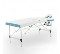 Стол массажный алюм.JFAL01A 2-секц.(РА2.20.13А-00) белый/бирюз + стул массажиста MA01 (беж) (CT-7КА)