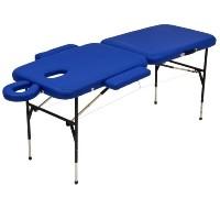Стол массажный переносной со стальной рамой ММ JFST01 (синий и кремовый)