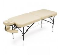 Стол массажный переносной 2-х секционный алюминиевый Мед-Мос JFAL01A (коричневый-кремовый, кремовый-коричневый)