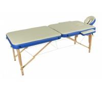 Стол массажный переносной с деревянной рамой 2-х секционный Мед-Мос JF-AY01 МСТ-113Л (бежевый с синей волной)