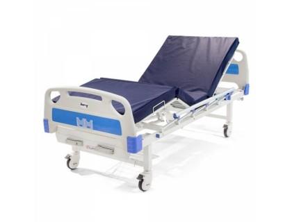 Кровать медицинская механическая Barry MB2ps (2х-рычажная с матрацем, с дугой и стойкой)